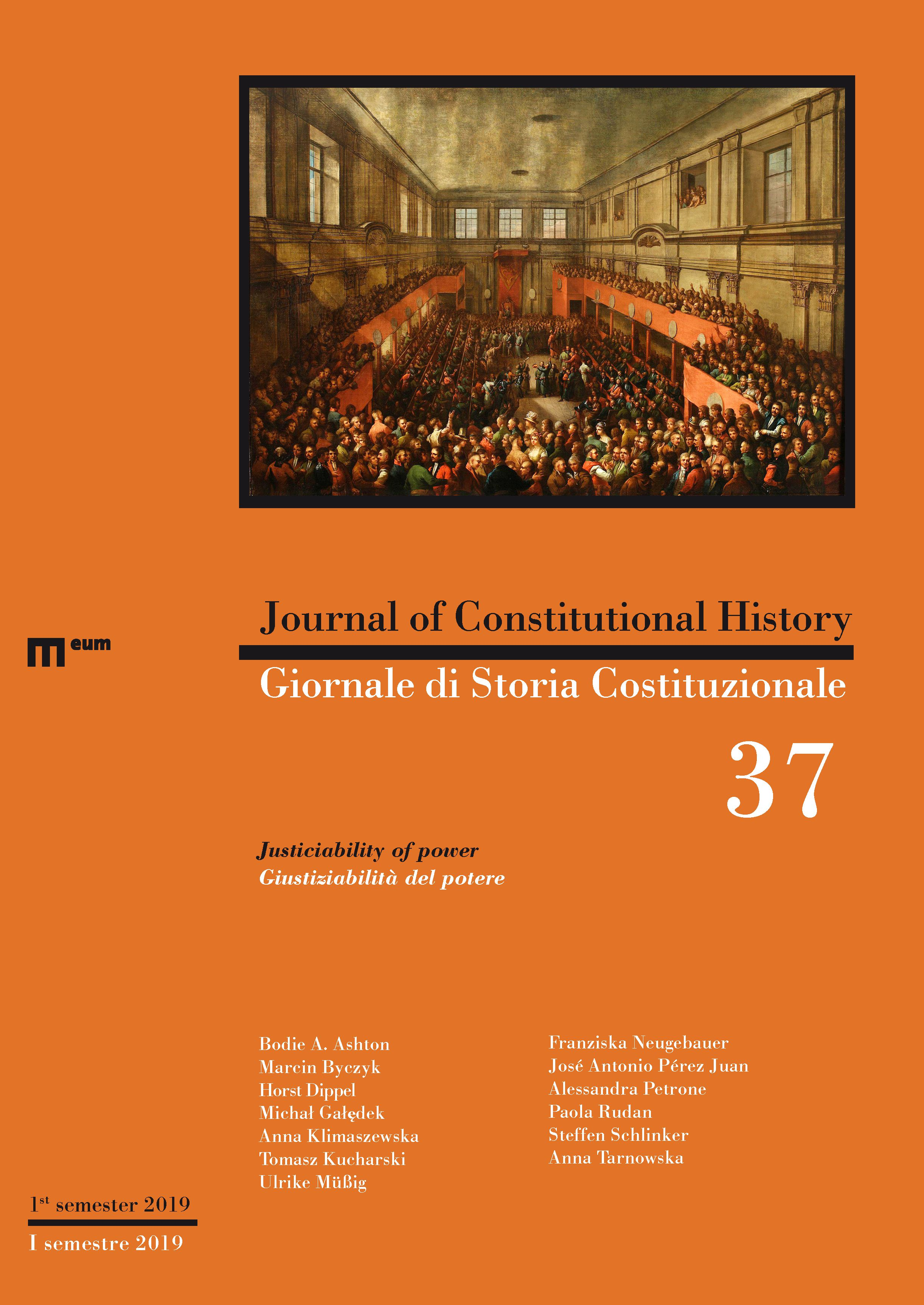 Journal of Constitutional History / Giornale di Storia Costituzionale n. 37, 1/2019