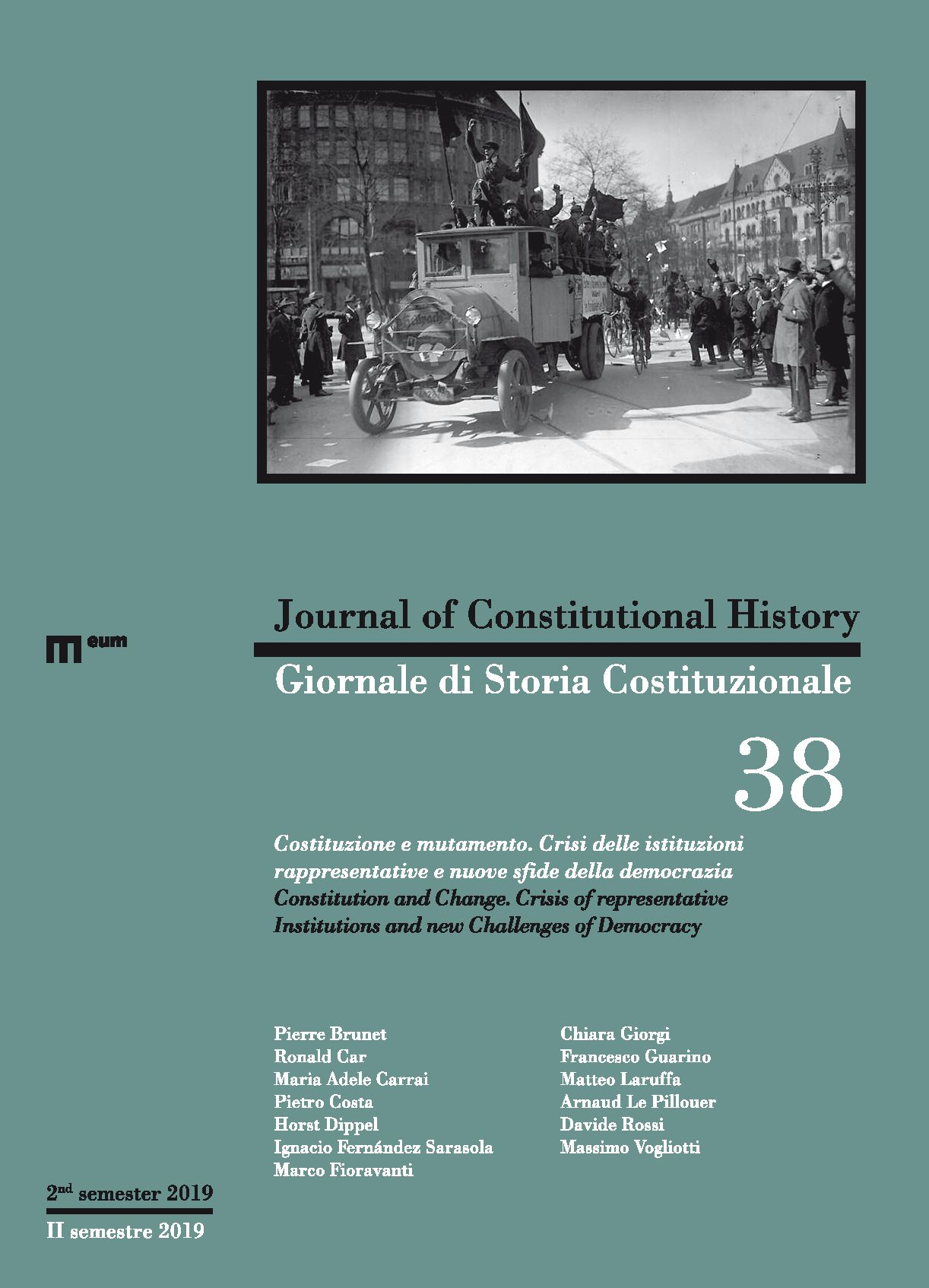 Journal of Constitutional History / Giornale di Storia Costituzionale n. 38, 2/2019