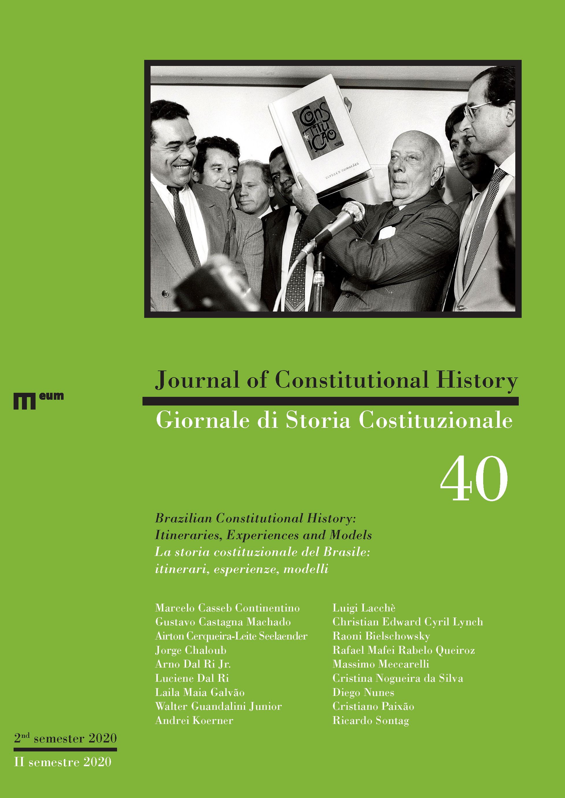 Journal of Constitutional History / Giornale di Storia Costituzionale n. 40, 2/2020